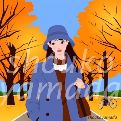 秋 紅葉 コートを着た若い女性 人物イラスト素材