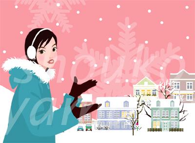 冬 雪が降る日 オーバーコートを着た若い女性