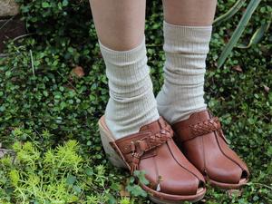 麻綿リブ靴下・ベージュ杢