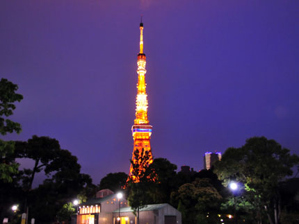 芝公園から見るライトアップした東京タワー