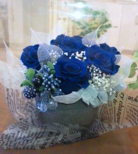 生の薔薇にはない、青のブリザーブドフラワー