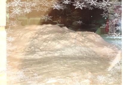 店前の雪山