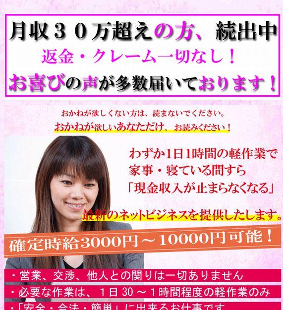 業界激震!月収30万・年収350万円可・!臨月の専業主婦でも出来た・即金完全在宅ネットビジネス