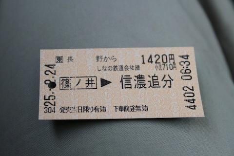長野〜信濃追分 きっぷ