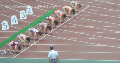 100m決勝、間もなくスタート。息を呑む瞬間でっす。