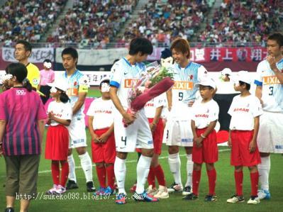 オリンピック代表の山村選手に花束贈呈です