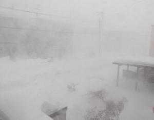 風で地吹雪が始まり