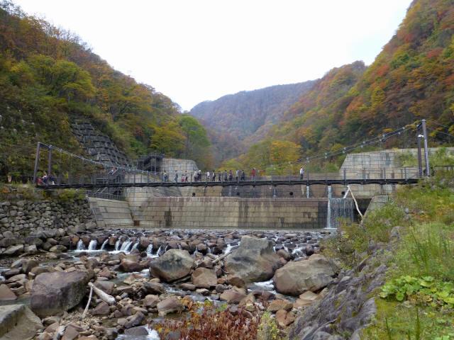 関川1号堰堤の吊橋6