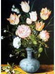 万歴染付の花瓶に生けた花