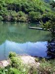 間瀬湖のロープ