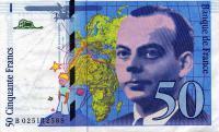 旧50フラン紙幣の表面