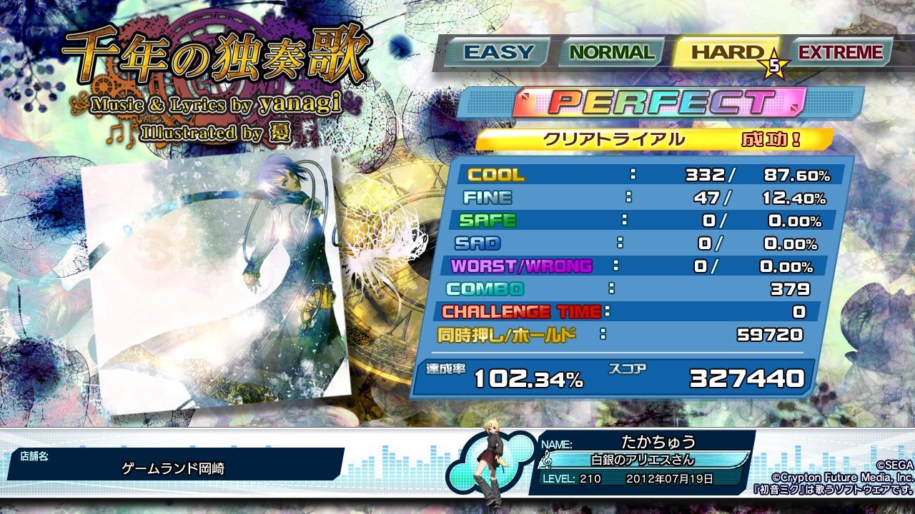 (120719) 千年の独奏歌 (DIVA edit) HARD PERFECT