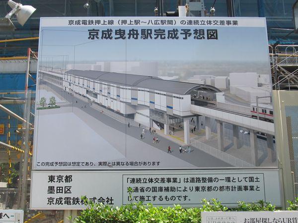 京成曳舟駅前に掲出されている高架化完成後の予想図