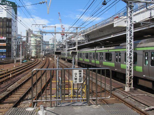 神田駅ホーム端から見た重層高架区間