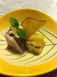 冬デザート(紫芋ババロア、湯葉、薩摩芋チップ)