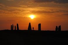 巨石と夕日