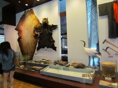 ヒグマの剥製と丹頂鶴