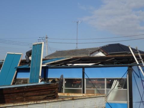 ④プレハブ 屋根取り替え