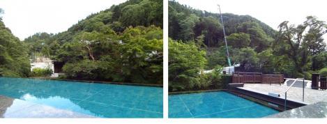 静岡県伊豆市古奈の東府やカフェ&ベーカリー足湯前面にはプールと山で工事中で日大建築卒の私は気になったデジカメ写真画像
