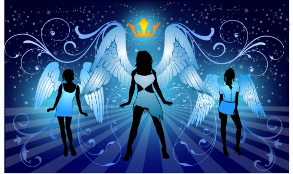 翼を拡げたセクシーな天使のシルエット sexy angels crown silhouette