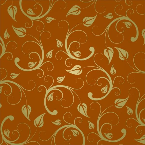 シームレスな金色の植物パターン Abstract Floral Pattern