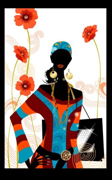 花ビラとお洒落な女性のシルエット Fashion girl flowers