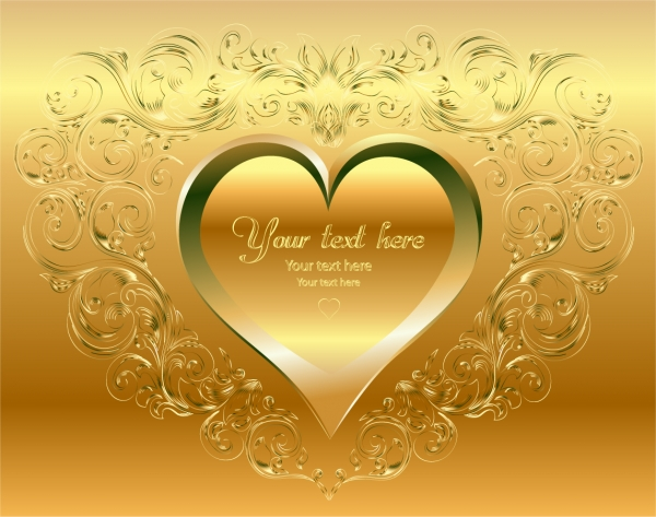 黄金に輝くハート型の背景 golden heartshaped background vector1