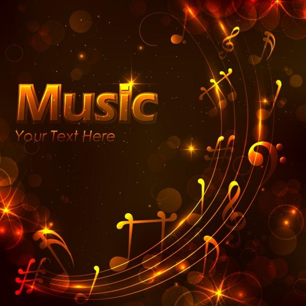 音楽を奏でる光る音符の背景 Golden music design background