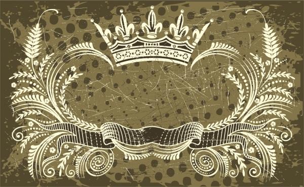グランジスタイルの豪華な王冠のフレーム nostalgic european crown ribbon pattern