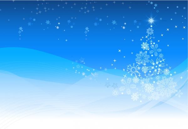 雪の結晶で描いたクリスマスツリー Christmas Winter background
