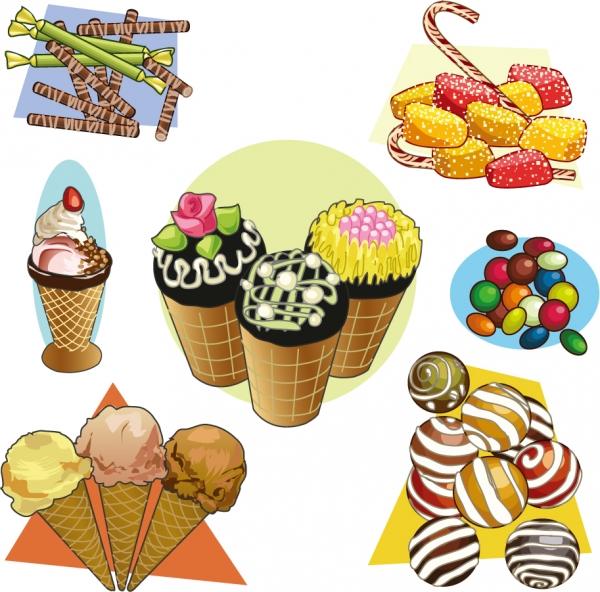 お菓子のクリップアート cartoon pastries vector