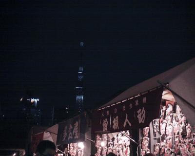 浅草寺・羽子板市で東京スカイツリー:R2