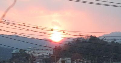 帰宅時夕日