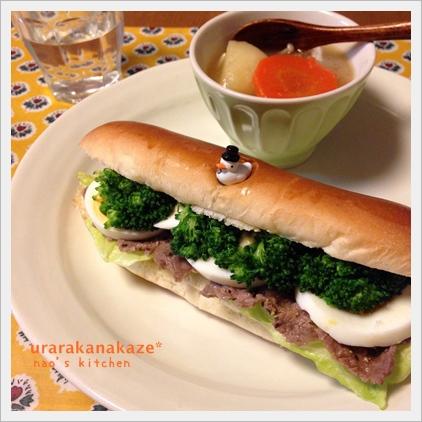 牛肉とブロッコリーのコッペパンサンド