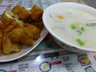潮發粥麺餐廳-食事(粥&揚げパン)
