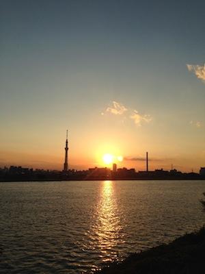 自転車_荒川20140914夕日