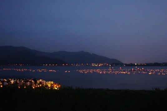 河口湖灯篭流し 山側