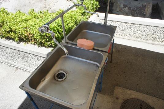 完熟桃食べ放題 手洗い場
