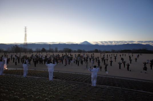 初日の出 ドラゴンパーク ラジオ体操富士山
