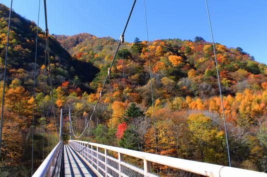 紅葉 石空川渓谷 最初の吊り橋