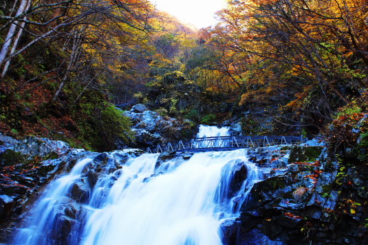 紅葉 石空川渓谷 一の滝