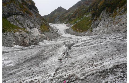 10月の劔沢雪渓