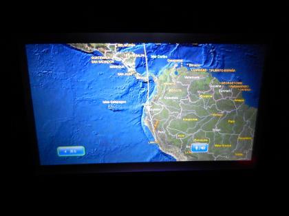 ペルー2014.1デルタ航空リマ行機内(赤道通過)