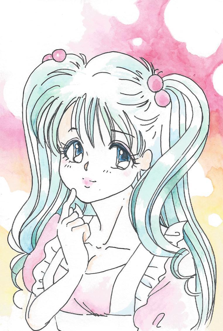 葉書美少女二つ髪結い