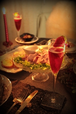 クリスマスのディナー & いちごカクテル (12)