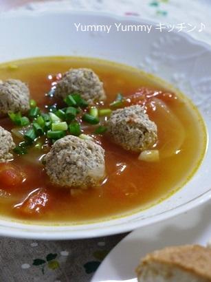 カレー風味の鶏団子のトマトスープ♪縦