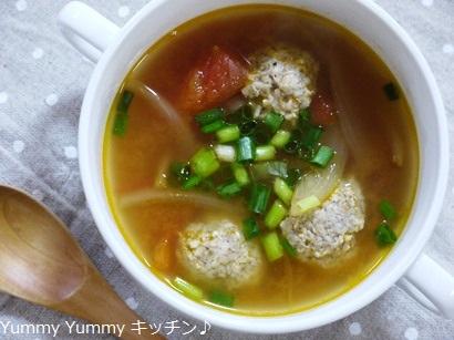 カレー風味の鶏団子のトマトスープ♪