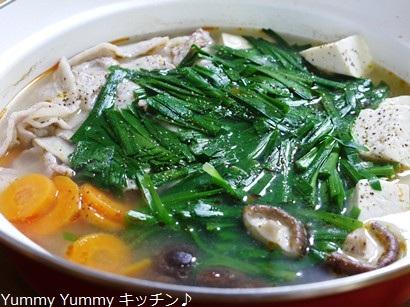 豚ばら肉とニラの中華風鍋♪2