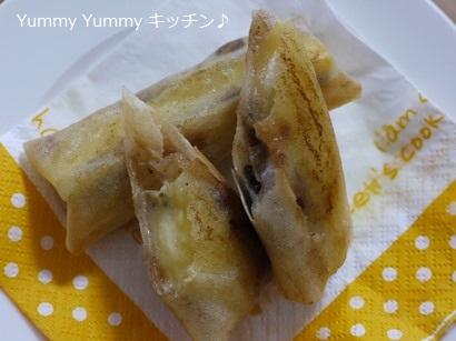 シナモン香るバナナ春巻き☆レーズンバター風味♪横
