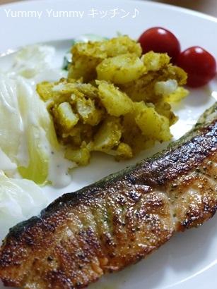 鮭のハーブ焼き&カレーポテト♪